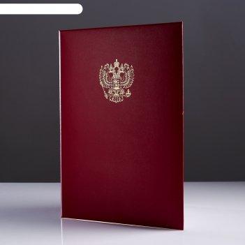 Папка адресная герб рф бумвинил, мягкая, бордовый, а4