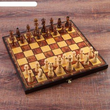 Настольная игра 3 в 1 классическая: шахматы, шашки, нарды (доска дерево 40