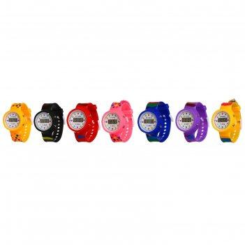 Часы наручные детские горошина, электронные, с силиконовым ремешком, микс,