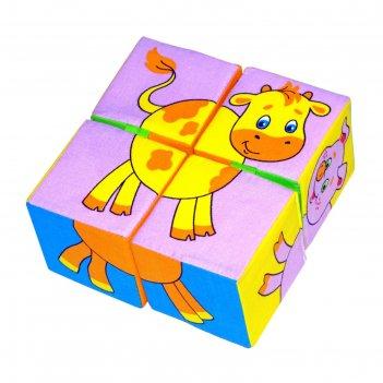 Набор развивающих мягких кубиков собери картинку. животные 2