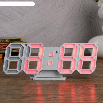Часы-будильник электронные цифры, с термометром, цифры розовые, белые, 23х