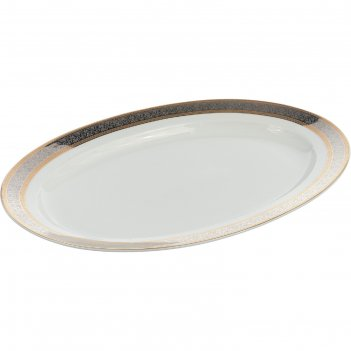 Блюдо овальное 36 см, opal, декор широкий кант платина, золото