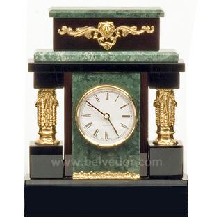 Часы из обсидиана и змеевика № о-78-ч