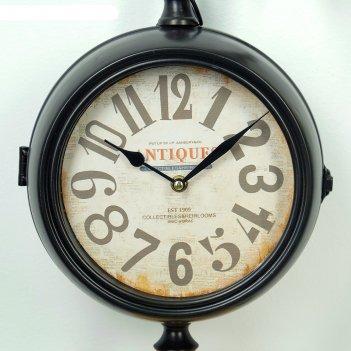 Часы настенные двойные, серия: садовые, моуди, черные d=19 см, 52х13х50 см