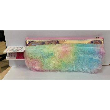 Lukky косметичка плюшевая с голограф.отделкой, 21х9,5 см,пакет,бирка