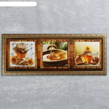 Часы-картина настенные, серия: кухня, медовая фантазия, 35х100  см, микс