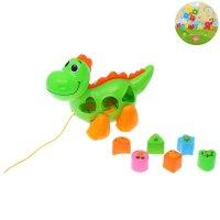 Каталка-сортер логическая милый динозавр, на верёвке, цвета микс