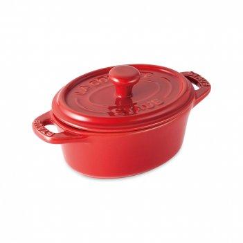Кокот овальный, размер: 15 х 11 см, материал: керамика, цвет: красный, sta