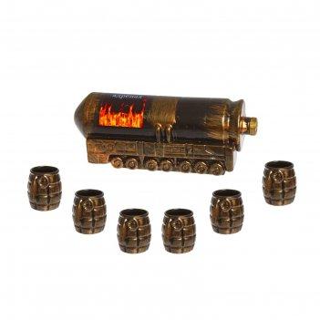 Штоф с рюмками тополь м чёрный, набор 7 предметов 0,75 л