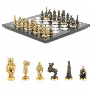 Шахматы северные народы бронза мрамор 400х400 мм