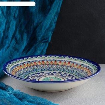 Ляган круглый, 33 см, глубокий, желто-синий орнамент