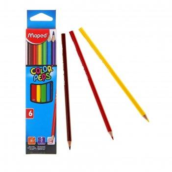 Карандаши 6 цветов maped color peps трехгранные