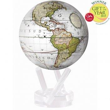 Глобус самовращающийся mova globe d12 см земля непознанная, цвет белый