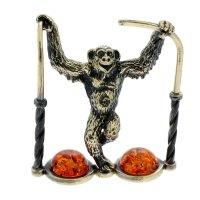 Сувенир из латуни и янтаря обезьяна на очках 4,2х5,2 см