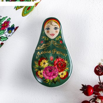 Шкатулка керамическая «люблю россию» (цветы), 5,1 х 8,8 см