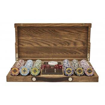 Набор для покера crown на 300 фишек в кейсе из ясеня