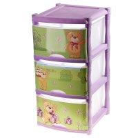 Комод для игрушек bears tutti, 3 выдвижных ящика, цвет лавандовый
