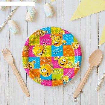 Набор бумажных тарелок самый веселый смайл (6 шт.), 18 см