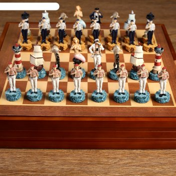 Шахматы сувенирные морские истории (доска 36х36х6 см, король h=8 см, пешка