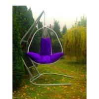 Подвесное кресло на стойке корфу, белое/фиолетовая