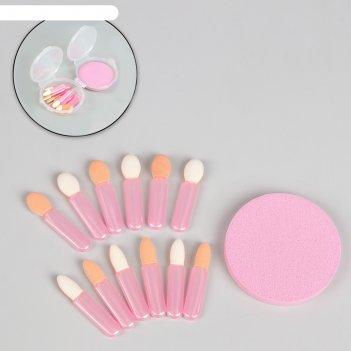 Набор: аппликаторы 13 шт, спонж, пластиковый футляр, цвет розовый