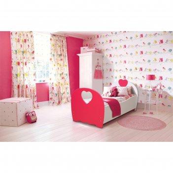 Кровать детская «сердце», 800 x 1600 мм, цвет белый/красный