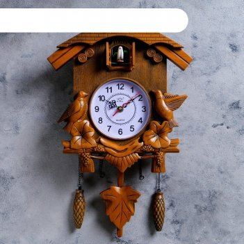 Часы настенные, серия: маятник, с кукушками, коричневые, 30х34 см