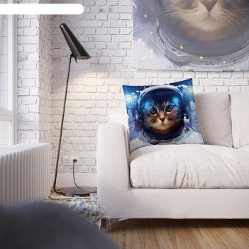 Наволочка декоративная кошка в космосе, 45 х 45 см, вшитая молния