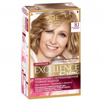 Крем-краска для волос l`oreal excellence creme, тон 8.1, светло-русый пепе