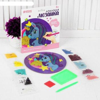 Алмазная мозаика для детей пони на круглой основе + емкость, стерж, клеев