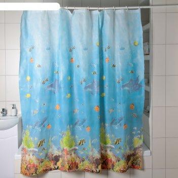 Штора для ванной 180x180 см рыбки, peva