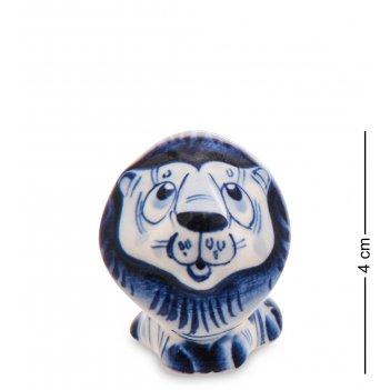 Гл-745 фигурка лев (гжельский фарфор)
