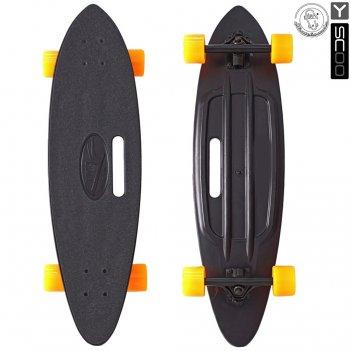 409-b скейтборд y-scoo longboard shark с ручкой 31″ пластик 79х22 с