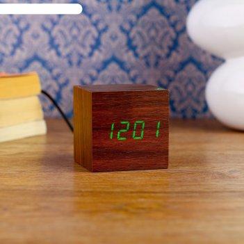 Часы-будильник настольные электронные, куб, цвет венге, цифры зелёные, от