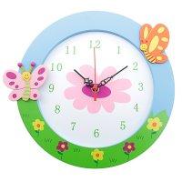 Часы настенные детские бабочки на полянке