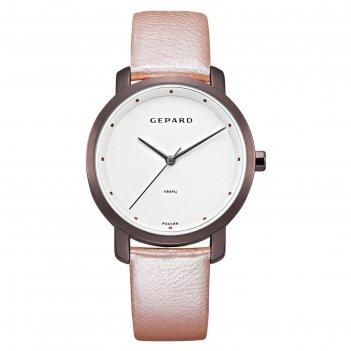 Часы наручные женские gepard, белый циферблат, розовый ремешок, 1252a15l8-