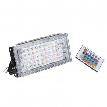 Прожектор светодиодный модульный luazon lighting, rgb, с пультом, 45вт, ip