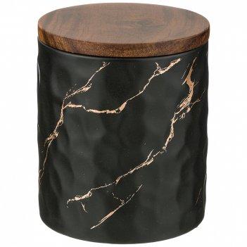 Банка для сыпучих продуктов коллекция золотой мрамор цвет:black 11,5*13,7