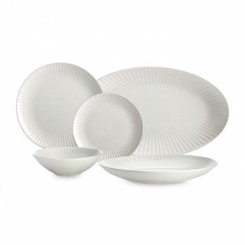 Сервиз обеденный 14 предметов, на 4 персоны, материал: фарфор, цвет: белый