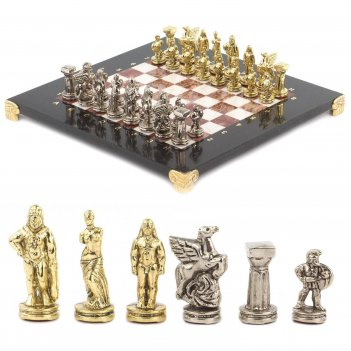 Шахматы спартанцы доска 280х280 мм лемезит мрамор металл