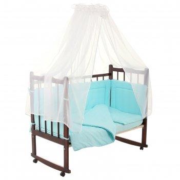 Комплект в кроватку горошки (7 предметов), цвет бирюзовый (арт. 10703)