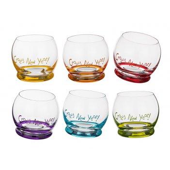 Набор стаканов из 6 шт. crazy new year 390 мл. высота=9 см. (кор=1набор.)