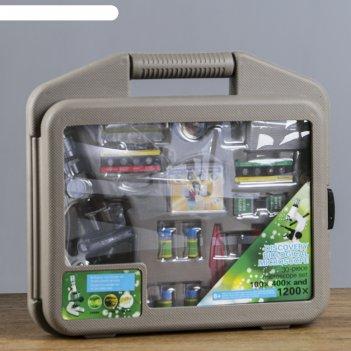 Микроскоп сувенирный практика 100х-400х-1200х, набор для исследований
