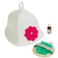 Набор банный девочки такие девочки 3 предмета: шапка, мочалка, масло