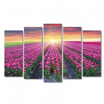 Модульная картина на подрамнике цветочные поля, 125x80 см