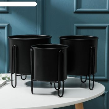 Набор кашпо «вейла», цвет чёрный
