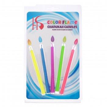 Набор свечей в торт цветное пламя, гиганты, 10,5х0,9см, 5 шт