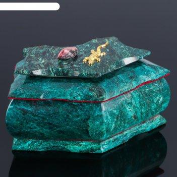 Ларец пятигранный 16х9х8 см, натуральный камень, змеевик