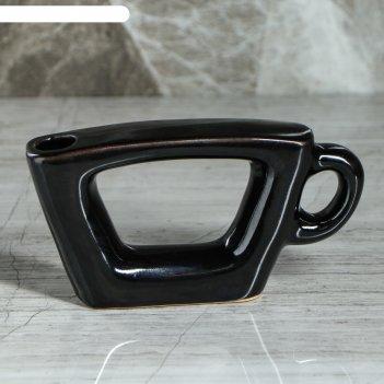 Ваза чашка черная, глазурь, глянец
