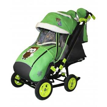 Санки-коляска snow galaxy city-2-1 совушки на зелёном на больших надувных
